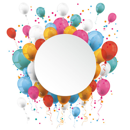 White paper circle with colored balloons on the white. Eps 10 vector file.