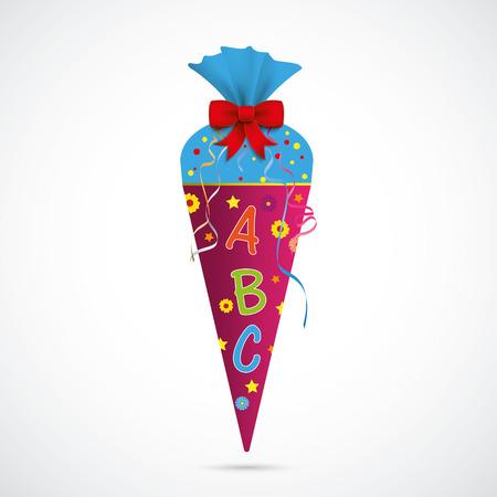 Candy kegel met ABC op de grijze achtergrond. Eps 10 vector-bestand. Stock Illustratie