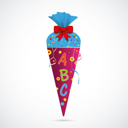 Candy cone with ABC on the gray background. Eps 10 vector file.