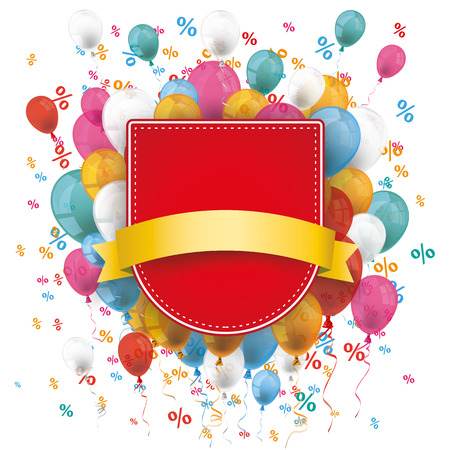 anniversary sale: Red shield with flag, balloons and percents on the white. Eps 10 vector file.