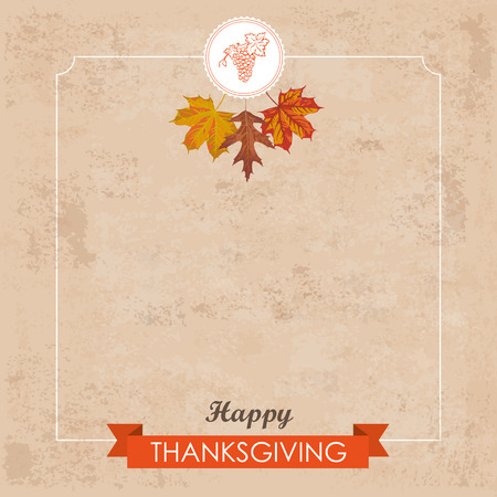 acer: Vintage background with emblem, foliage, ribbon and text Happy Thanksgiving Eps 10 vector file.