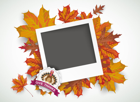 gobble: Emblem with instant photo, foliage and text Happy Thanksgiving.Eps 10 vector file.