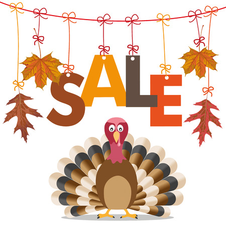 gobble: Foliage with text Sale and turkey on the white background. Eps 10 vector file.