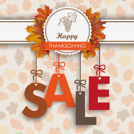 thanksgiving family: Text Sale with thanksgiving emblem and autumn foliage. Eps 10 vector file. Illustration