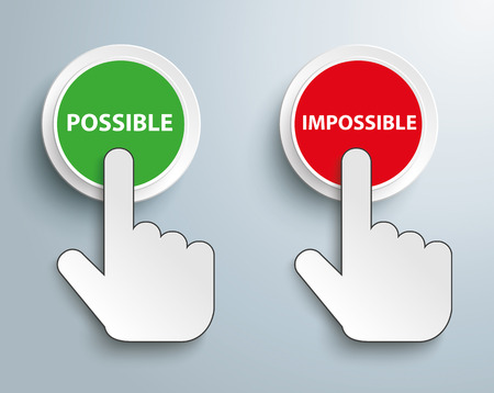 possible: Click hand cursor with text Possible Impossible. Eps 10 vector file.