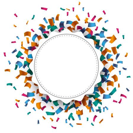 matrimonio feliz: Blanca emblema papel con papel picado de color sobre el blanco. Eps 10 archivos de vectores.