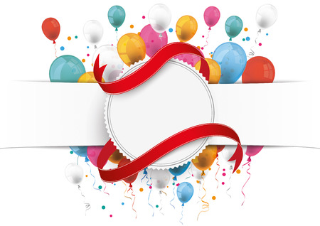 papier banner: White paper banner, emblem, flag and colored balloons.  Eps 10 vector file.