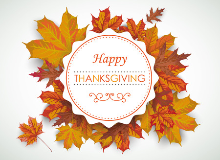 acer: Emblem with foliage and text Happy Thanksgiving.Eps 10 vector file.