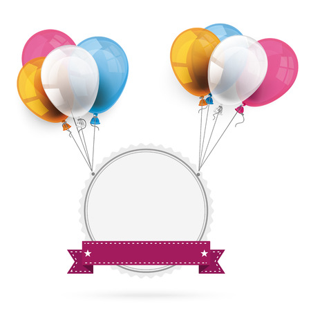 onlineshop: Emblem with ribbon and colored balloons. Eps 10 vector file.