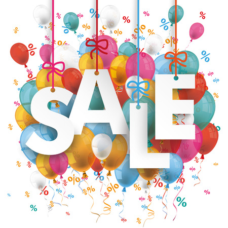 an anniversary: Text Sale with colored balloons and percents on the white background. Eps 10 vector file.