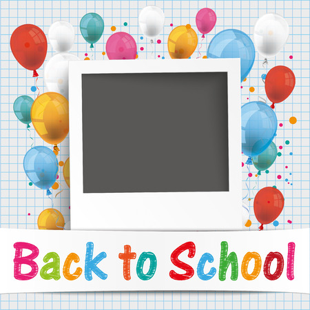 colored balloons: Back to school flyer with photo and colored balloons. Eps 10 vector file.