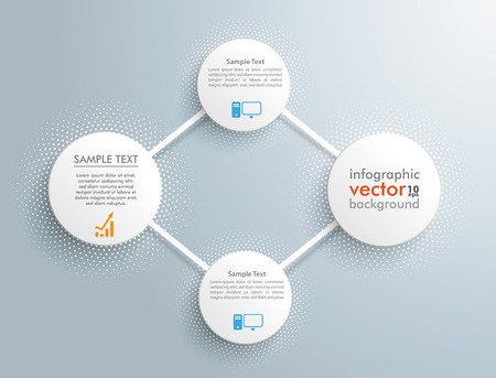 triangulum: Infographic design with network circles on the gray background. Eps 10 vector file. Illustration