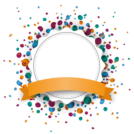 prongs: White paper emblem with colored confetti on the white. Eps 10 vector file.