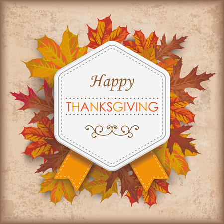 Vintage background with emblem, foliage and text Happy Thanksgiving Eps 10 vector file.