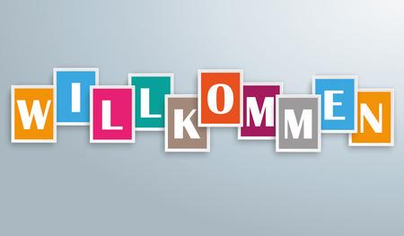 willkommen: German text Willkommen, translate Welcome. Eps 10 vector file. Illustration