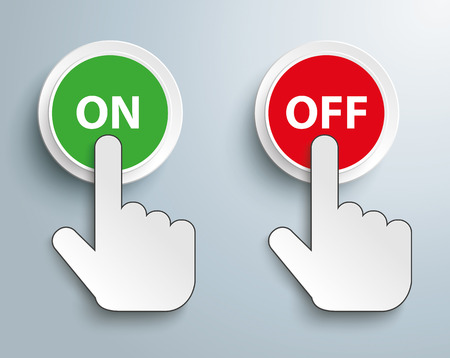 cursor: Click hand cursor with buttons and text On Off. Eps 10 vector file. Illustration