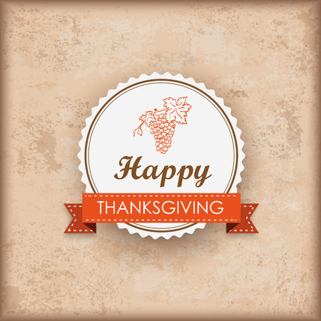 acer: Vintage background with emblem and text Happy Thanksgiving Eps 10 vector file. Illustration