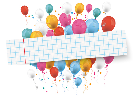 checked: Checked paper banner and colored balloons.  Eps 10 vector file.