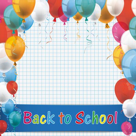 Back to oldschool flyer with balloons and banner. Eps 10 vector file.