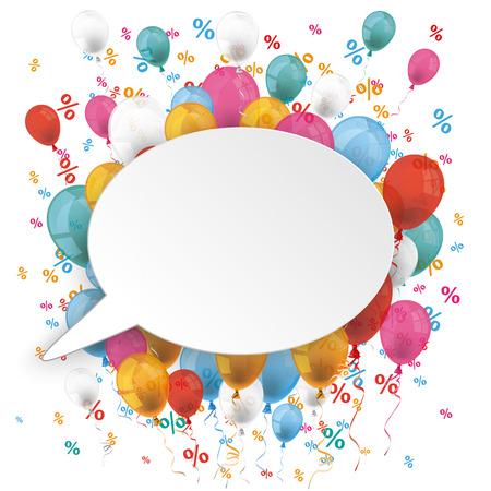 White paper tekstballon met gekleurde ballonnen en procenten op de witte. Eps 10 vector-bestand.