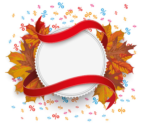 acer: White emblem with flag and autumn foliage on the white. Eps 10 vector file. Illustration