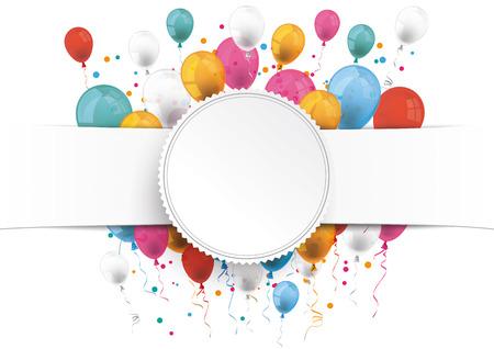 White paper banner, embleem en gekleurde ballonnen. Eps 10 vector-bestand. Stock Illustratie