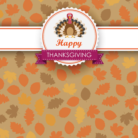 gobble: Foliage in autumn colors with thanksgiving emblem and turkey on white background. Eps 10 vector file. Illustration