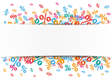 onlineshop: White paper banner with colored percents.  Eps 10 vector file. Illustration