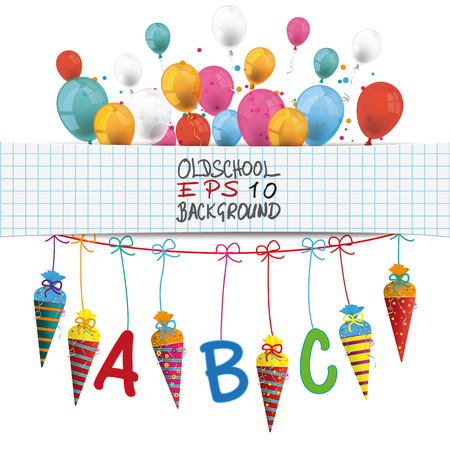 checked: Checked banner with balloons, candy cones and ABC letters. Eps 10 vector file. Illustration