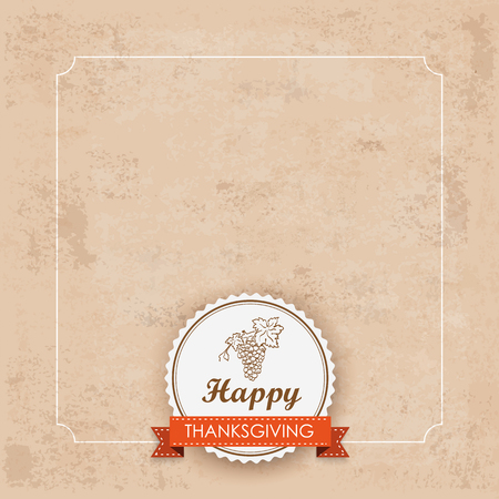 acer: Vintage background with foliage, frame, emblem and text Happy Thanksgiving Eps 10 vector file.