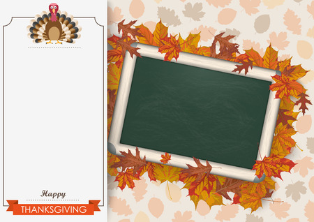 oblong: Oblong banner with ribbon, turkey, blackboard and foliage. Eps 10 vector file.