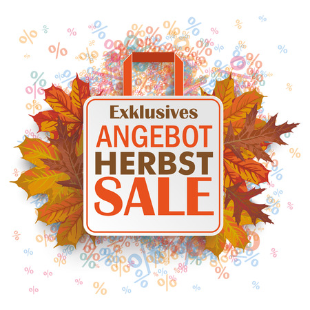 herbst: German text bestes Angebot, Herbst, Nur für kurze Zeit, translate best offer, Autumn, limited time only. Illustration