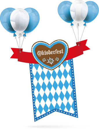 colored balloons: Heart with red banner, balloons and text Oktoberfest on the white background. Eps 10 vector file.