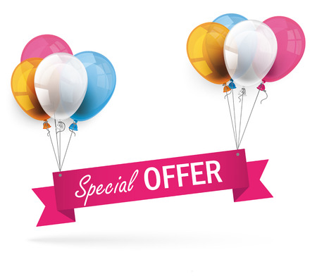 Ribbon with colored balloons and text Special Offer. Eps 10 vector file.