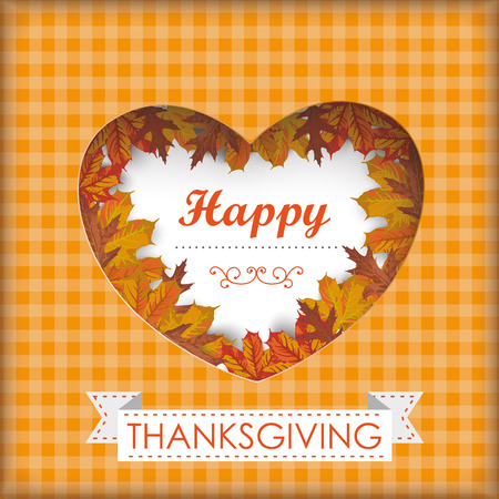 acer: Thansgiving design with heart, foliage and ribbon. Eps 10 vector file.