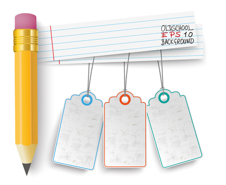 sticker: Pencil with school paper banners and 3 price stickers.  Eps 10 vector file.