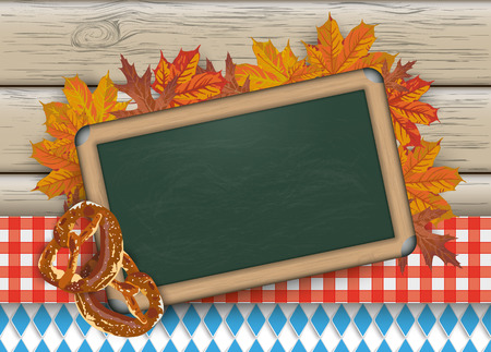 Green blackboard with bavarian national colors, foliage and pretzel on the wooden background. Eps 10 vector file. Иллюстрация