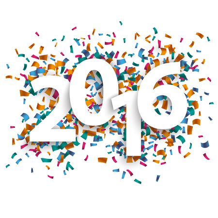 back to the future: 2016 with colored confetti on the white background. Eps 10 vector file.