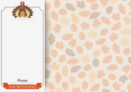 oblong: Oblong banner with ribbon, turkey and foliage. Eps 10 vector file.