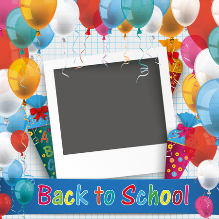 instant photo: Back to school flyer with instant photo frame. Eps 10 vector file.