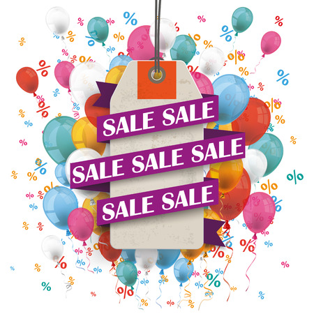 price sticker: Price sticker with ribbon and text sale on the bakcground with colored balloons and percents. Eps 10 vector file.