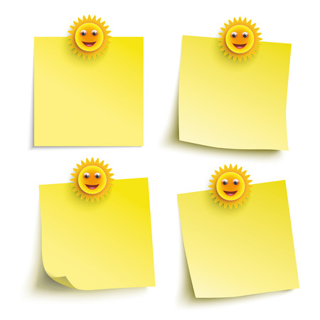 suns: Infographic with yellow stickers and smiling suns on the white background. Eps 10 vector file.