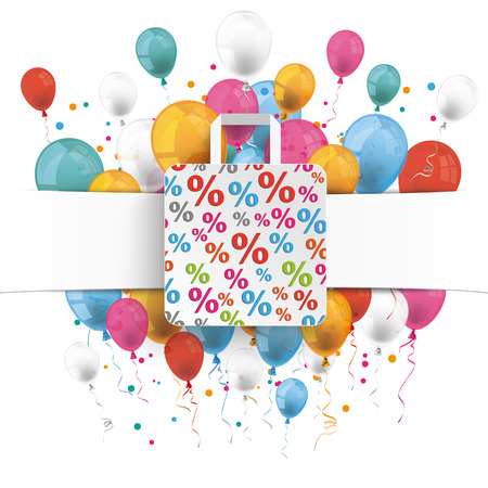 papier banner: White paper banner, shopping bag and colored balloons.  Eps 10 vector file. Illustration