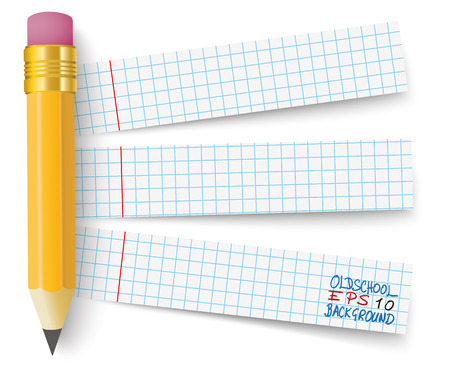 Pencil with 3 school paper banners.  Eps 10 vector file.