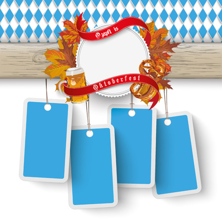 bretzel: German text O´zapft is and Oktoberfest, translate on tap and Oktoberfest. Eps 10 vector file.