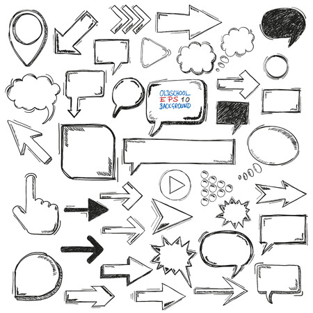 think: Handdrawn communication elements on the white background. Eps 10 vector file. Illustration
