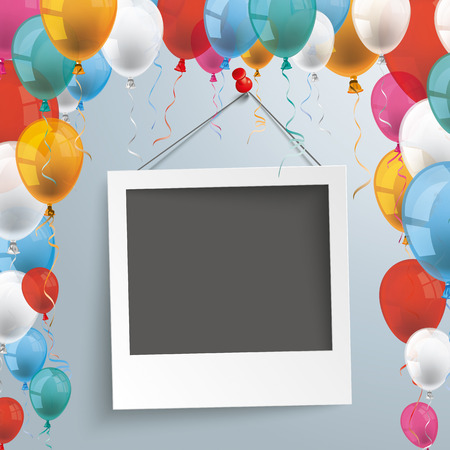 instant photo: Balloons with instant photo on the gray background. Eps 10 vector file.