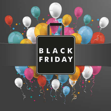 papier banner: Black paper banner, shopping bag and colored balloons.  Eps 10 vector file. Illustration