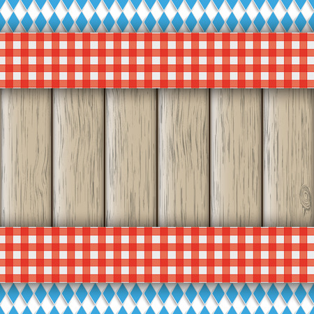 national colors: Bavarian national colors flyer with red table cloth on the wooden background. Eps 10 vector file.