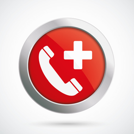 dr: Button with symbol of emergency call.Eps 10 vector file.
